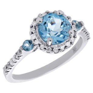 10k White Gold Diamond Created Blue Topaz Ladies Engagement Ring 0.20 Ct.