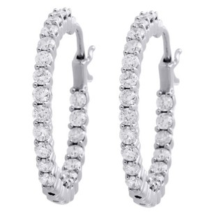 10k White Gold Diamond In Out Hoops 0.98 Long Round Hinged Earrings Ct.