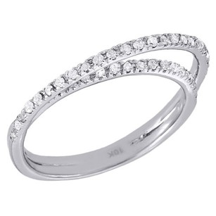 Jewelry For Less 10k White Gold Diamond Ladies Overlay Contour Fashion Right Hand Ring 0.25 Ct