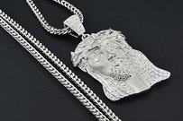 Jewelry For Less 10k White Gold Diamond Mini Jesus Piece Head Pendant 1.40 Ct. With Franco Chain