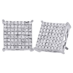 10k White Gold Diamond Stud Pave Set 12.25mm Prong Square Earrings 1 Ct.