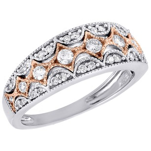 Other 10k White Gold Genuine Diamond Band Antique Deco Style Right Hand Ring 0.51 Ct.