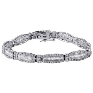Jewelry For Less 10k White Gold Ladies Baguette Diamond Fashion Designer 7 Link Bracelet Ct.