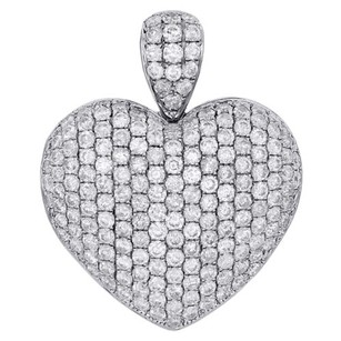 Jewelry For Less 10k White Gold Ladies Round Cut Diamond Pave Puff Heart Pendant Charm 5.48 Ct.