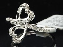 Jewelry For Less 10k White Gold Round Cut Diamond Double Heart Design Fashion Cocktail Ring