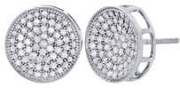 Other 10k White Gold Round Diamond Circle Pave Studs Concave 12mm Mens Earrings 1 Ct.