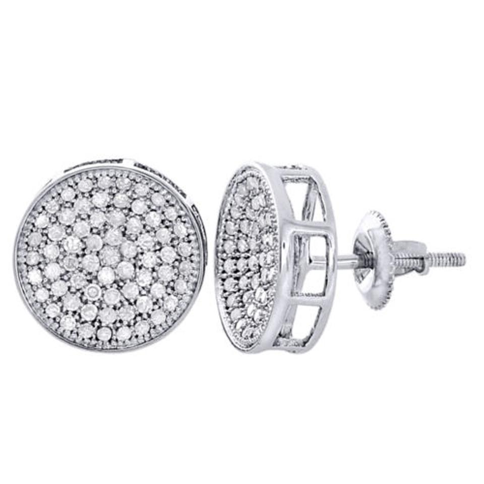 10k White Gold Round Diamond Circle Pave Studs Concave 12mm Mens  Earrings 1 Ct