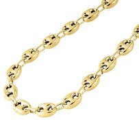 10k Yellow Gold 7.5mm Wide Puffed Gucci Mariner Link Chain Necklace 24-36 Inches