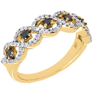 Jewelry For Less 10k Yellow Gold Black Diamond Braided Anniversary Band Fashion Ring 0.40 Ct.