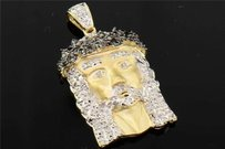 Jewelry For Less 10k Yellow Gold Black Diamond Mini Jesus Piece Head Cross Pendant 0.22 Ct.