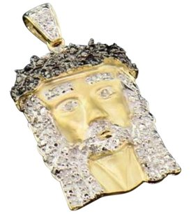 10k Yellow Gold Black Diamond Mini Jesus Piece Head Cross Pendant 0.22 Ct.