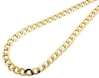 Jewelry For Less Mens Hollow 10k Yellow Gold Mm Cuban Curb Link Chain Necklace 20-34 Inches