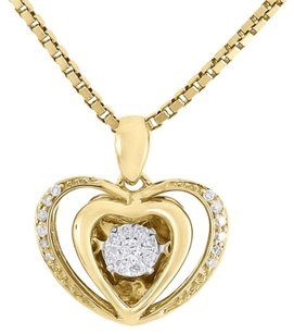 Other 10k Yellow Gold Dancing Diamond Shimmering Double Heart Pendant W Chain 0.15 Ct