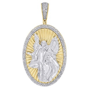 Other 10k Yellow Gold Diamond 3d Guardian Angel Pendant Oval Mens Pave Charm 0.50 Ct.
