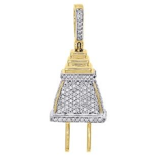 Jewelry For Less 10k Yellow Gold Diamond 3d Plug Socket Fuse Pendant 1.40 Mens Pave Charm 34 Ct
