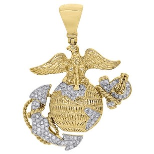 Jewelry For Less 10k Yellow Gold Diamond American Eagle Anchor Marine Corps Pendant 0.52 Ct.