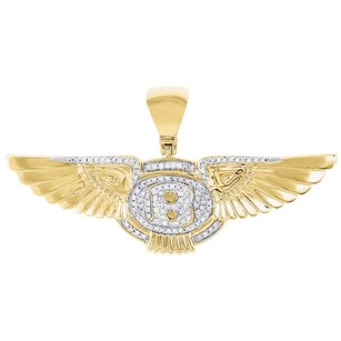 Jewelry For Less 10k Yellow Gold Diamond Bentley Pendant Mens Flying B Logo Wing Charm 0.59 Ct.
