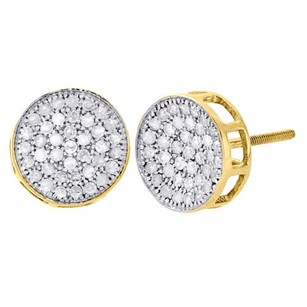 Other 10k Yellow Gold Diamond Circle Pave Studs Concave 10mm Mens Earrings 0.75 Ct.