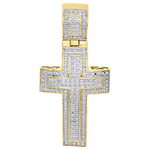 Other 10k Yellow Gold Diamond Domed Outline Puff Cross Pendant 1.95 Mens Charm 12 Ct