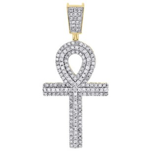 Jewelry For Less 10k Yellow Gold Diamond Egyptian Ankh Cross 2.10 Pendant Mens Charm 1.72 Ct.