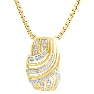 Other 10k Yellow Gold Diamond Ladies Curved Slide Swirl Pendant 18 Chain 0.05 Ct