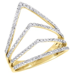 Other 10k Yellow Gold Diamond Ladies Pointed Contour Fashion Right Hand Ring 0.40 Ct.