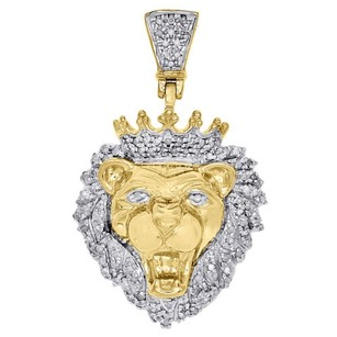 Jewelry For Less 10k Yellow Gold Diamond Mini King Lion Head Crown Pendant Pave Charm 0.50 Ct.