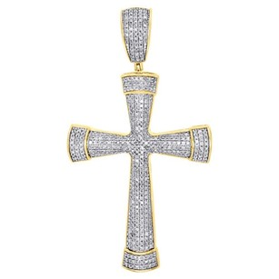 10k Yellow Gold Genuine White Diamond Cross Pendant Tube Domed Charm 1.20 Ct.