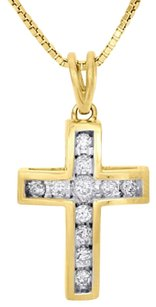Other 10k Yellow Gold Ladies Round Diamond Cross Pendant .90 Channel Set Charm 14 Ct