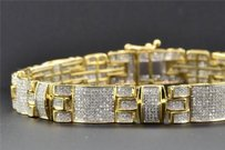 Jewelry For Less 10k Yellow Gold Mens Genuine Diamond Link Bracelet Round Pave Set 8.5 2.81 Ct.