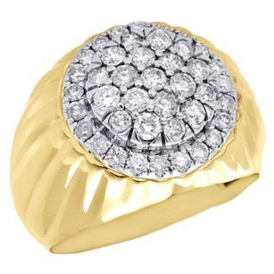 Jewelry For Less 10k Yellow Gold Mens Round Cut Diamond Statement Pinky Ring Domed Top 1.53 Ct.