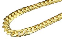 10k Yellow Gold Miami Cuban Semi Hollow 7mm Wide Chain 36 Necklace