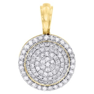 10k Yellow Gold Real Diamond Round Pillow Medallion Pendant Mens Charm 1.92 Ct.