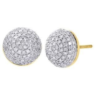 Jewelry For Less 10k Yellow Gold Round Diamond Domed Half Circle Earrings Pave 3d Studs 0.70 Ct.
