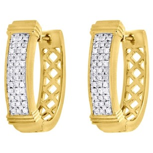 Jewelry For Less 10k Yellow Gold Round Diamond Hoops Ladies Row Pave Huggie Earrings 0.30 Ct.
