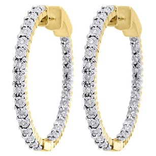 Jewelry For Less 10k Yellow Gold Round Diamond Inside Out Hoop Eternity Earrings In Out 0.50 Ct