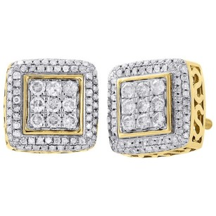 Jewelry For Less 10k Yellow Gold Round Diamond Studs Halo Frame 9.50mm Square Earrings 0.51 Ct.