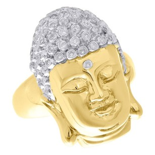 10k Yellow Gold Round Genuine Diamond Gautam Buddha Face Mens Pinky Ring 0.44 Ct
