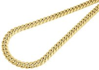 Jewelry For Less 10k Yellow Gold Semi Hollow Mm Miami Cuban Link Necklace Chain - Inch
