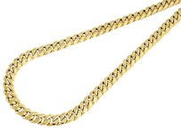 10k Yellow Gold Semi Hollow Mm Miami Cuban Link Necklace Chain - Inch