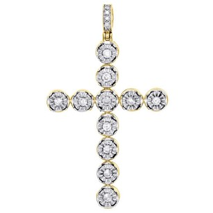 10k Yellow Gold Single Row Diamond Halo Cross Pendant 1.90 Mens Charm 1 Ct.