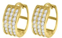 Jewelry For Less 10k Yellow Gold Triple Row Cz Hinged Hoop 0.60 Fashion Earrings