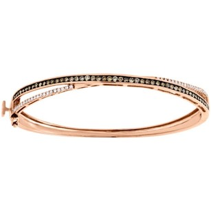 Jewelry For Less 14k Rose Gold Brown White Diamond Criss Cross 7.5 Bangle Ladies Bracelet 1 Ct