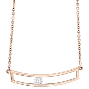 Jewelry For Less 14k Rose Gold Sliding Bar Diamond Pendant Necklace 15.75 Cable Chain 0.10 Ct.