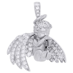 Jewelry For Less 14k White Gold Diamond Halo 3d Baby Angel Pendant Satin Finish Charm 0.98 Ct.