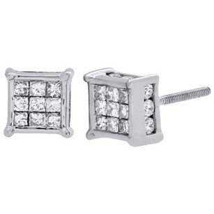 14k White Gold Princess Round Diamond 3d Cube Stud Prong Earrings 1 Ct.