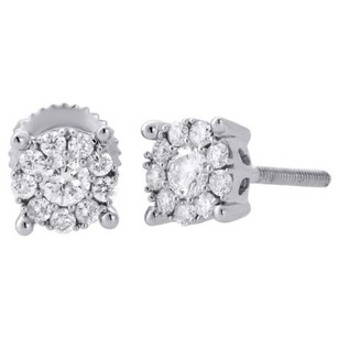 14k White Gold Solitaire Accent 5.75mm Round Diamond Flower Stud Earrings 13 Ct