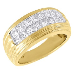 Other 14k Yellow Gold Mens Princess Cut Diamond Wedding Band Invisible Set Ring Ct.