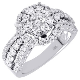 Diamond Engagement Ring Ladies 14k White Gold Wedding Round Solitaire 2.07 Tcw.