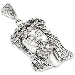 Other .925 Sterling Silver Diamond Micro Mini Jesus Face Piece Pendant Charm 0.50 Ct